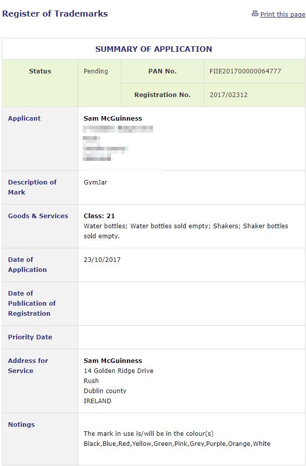 Trademark Ireland Irish application for registration of Gym Jar as a trademark GymJar Trademark 1