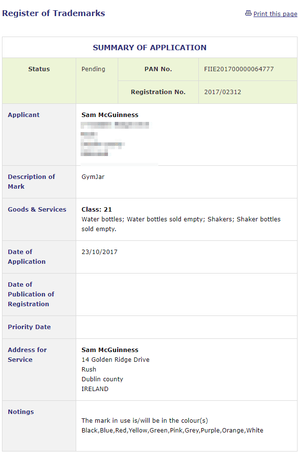 Trademark Ireland Irish application for registration of Gym Jar as a trademark GymJar Trademark 1