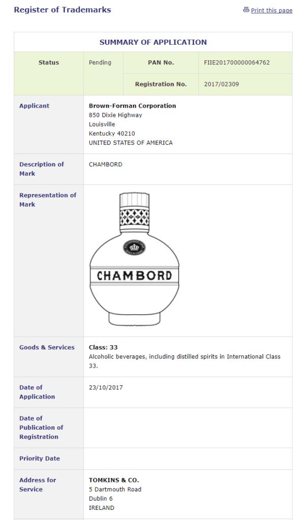Trademark Ireland Irish trademark application for Chambord bottle Trademark TrademarkIreland