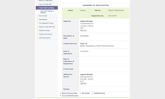 Trademark Ireland A man in Kerry has applied for the Irish tradmark Floodmaster Flood Floodmaster 1