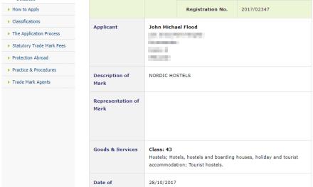 Trademark Ireland Irish Trademark applied for for Nordic Hostels for well hosterls HostelIreland Hostel 1