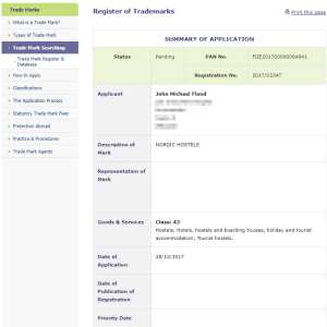 Trademark Ireland Irish Trademark applied for for 'Nordic Hostels' for, well, hosterls #HostelIreland #Hostel