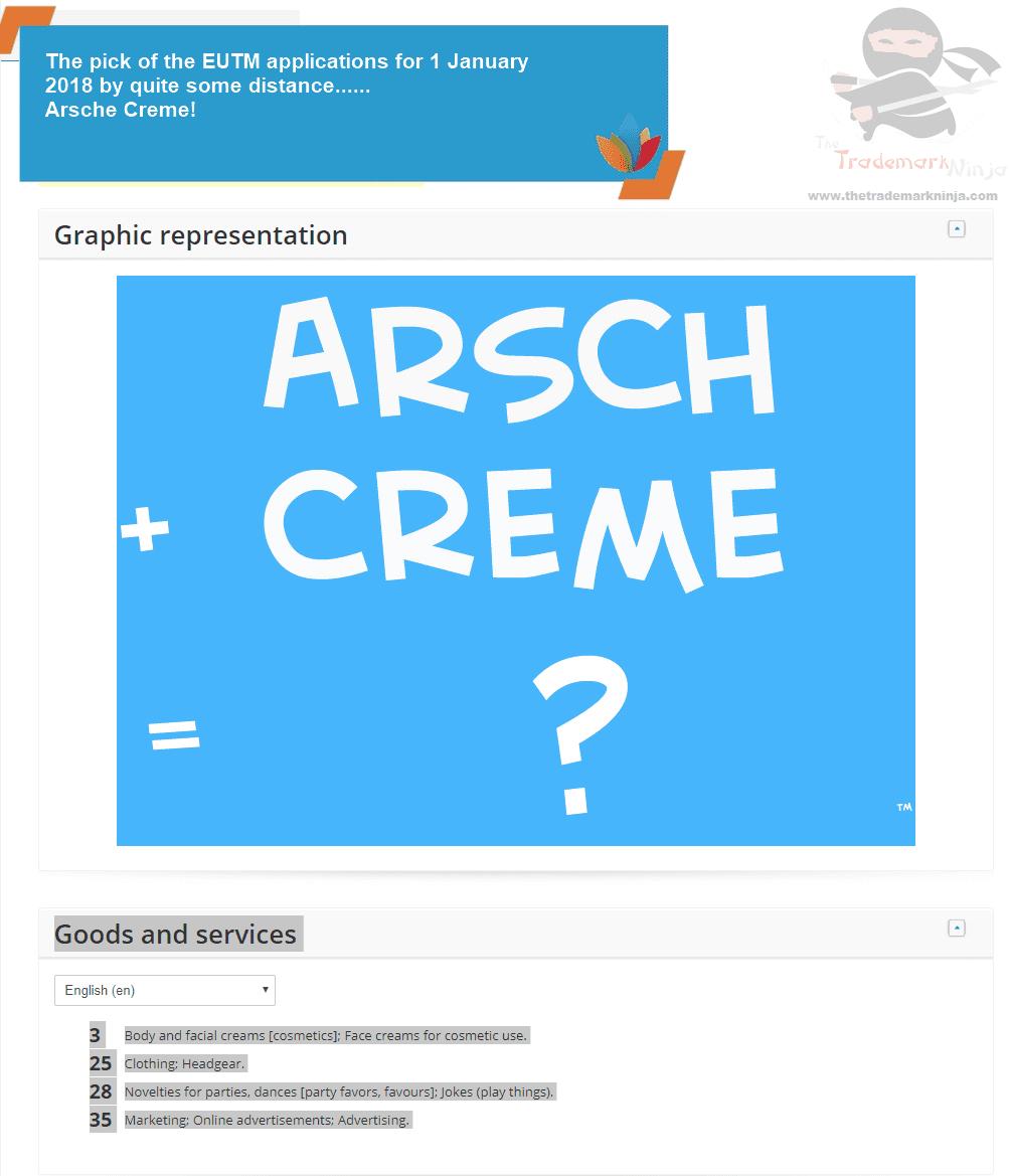 EUTM EU Trademark Application for Arsch Creme ArschCreme ArseCream