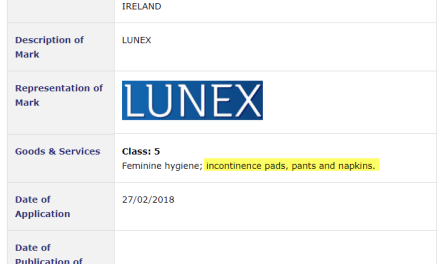 Trademark Ireland Aldi brand Incontinence Pads anybody Aldi Incontinence Lunex Trademark TM Trademarks Law
