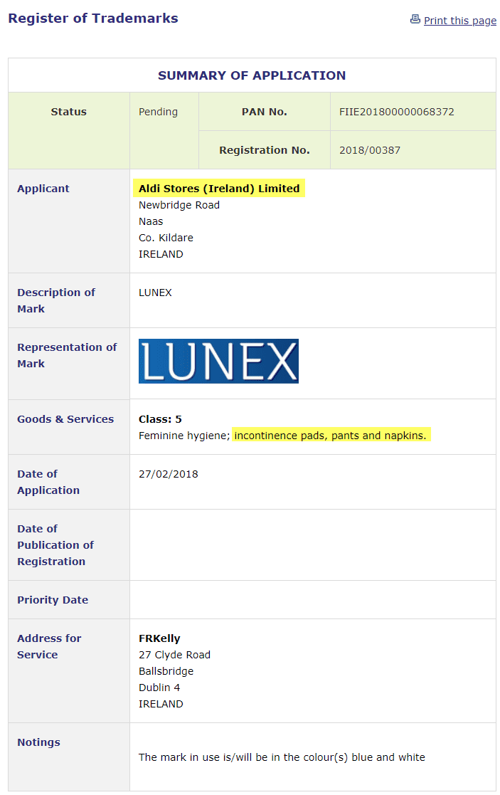 Trademark Ireland Aldi brand Incontinence Pads anybody Aldi Incontinence Lunex Trademark TM Trademarks Law