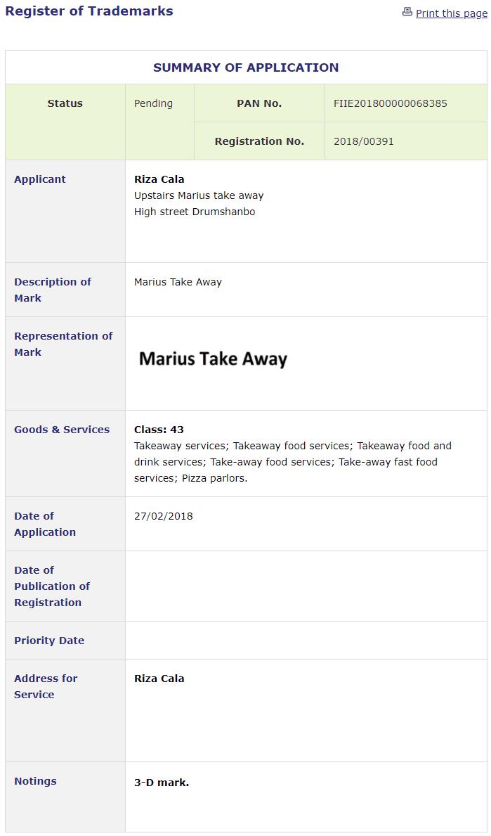 Trademark Ireland Application filed for Marius Take Away in Leitrim Marius Takeaway TM Trademark Trademarks
