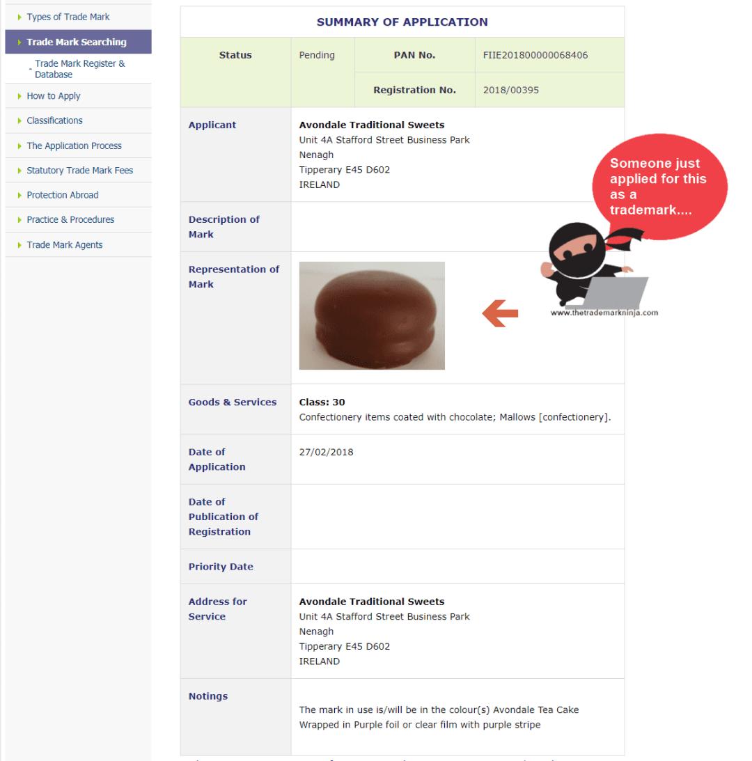 Trademark Ireland Application for Tea Cake as a trademark TeaCake Trademark