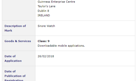 Trademark Ireland Firstly its nice to see someone in the GEC apply for a trademark Secondly Ill be very interested in this app Snorewatch Snoring Trademark IP