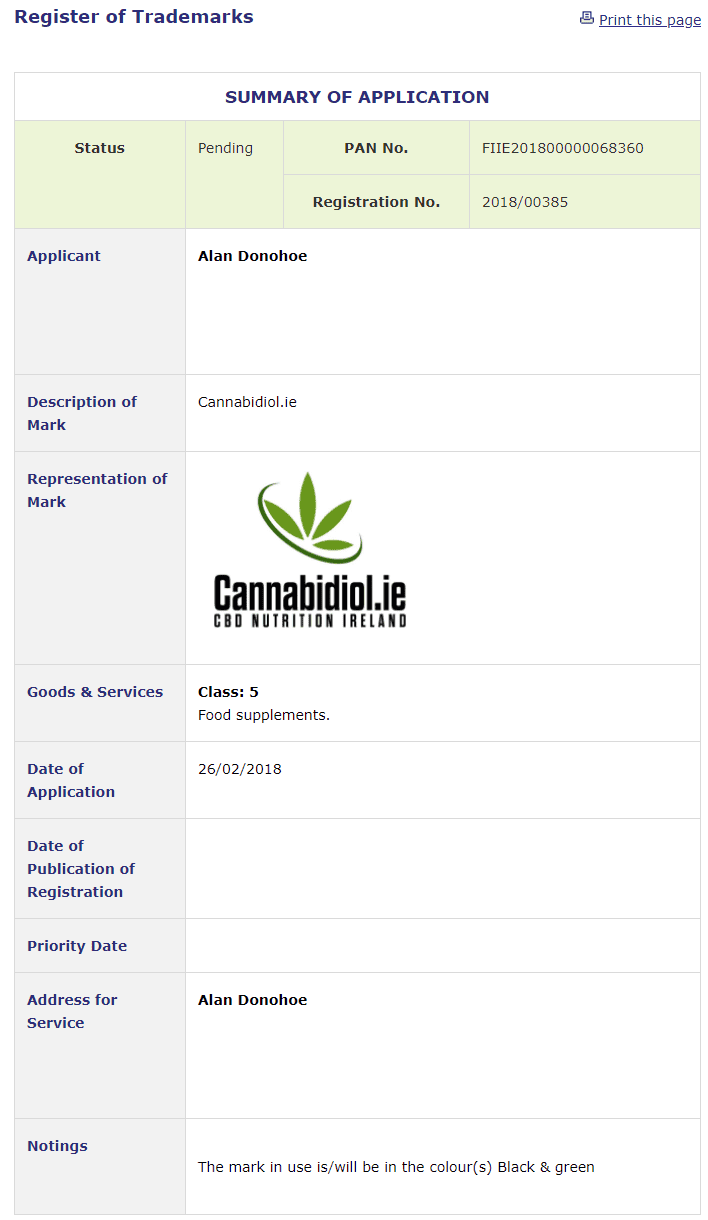 Trademark Ireland It begins the Cannabis trademarks are coming already big issues in the US Cannabis Hash Cannabidiol Tm Trademark TM