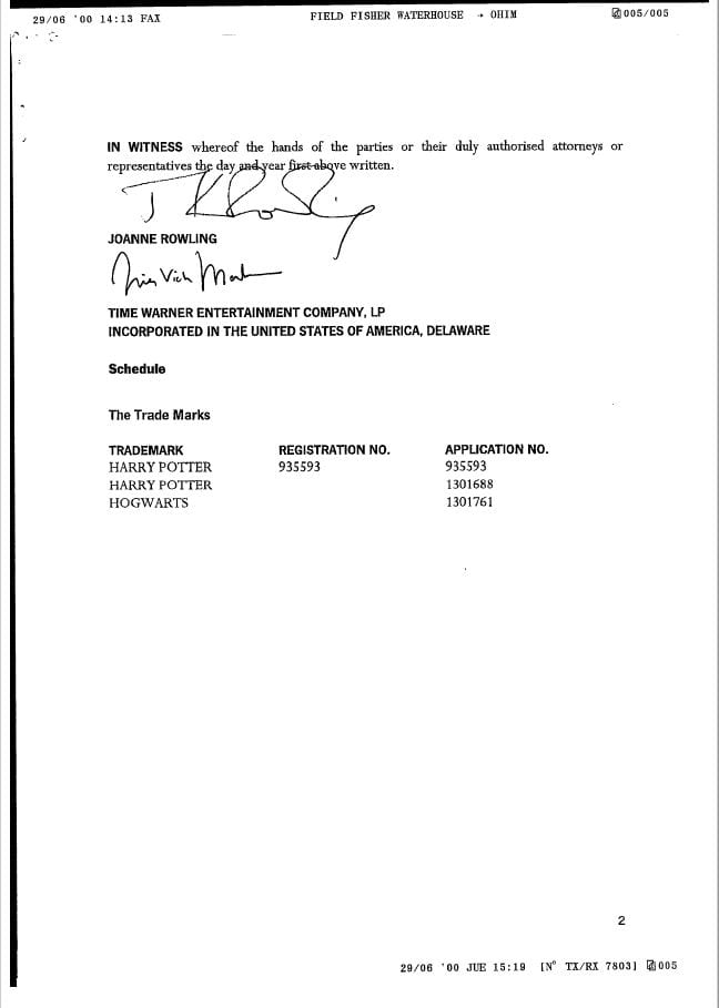 Harry Potter Trademark Assignment from JK Rowling (Page 2)