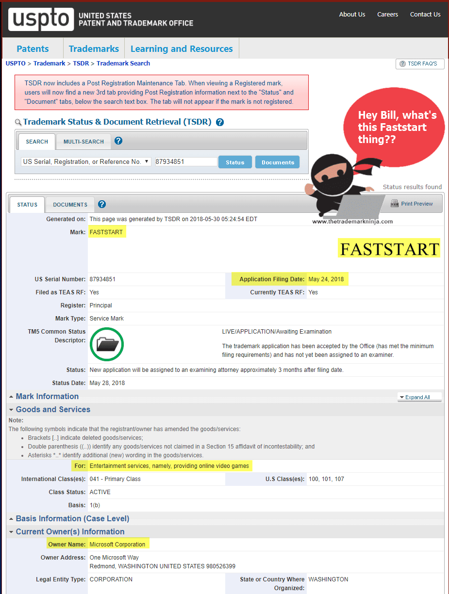 Microsoft Faststart Trademark Application May 2018