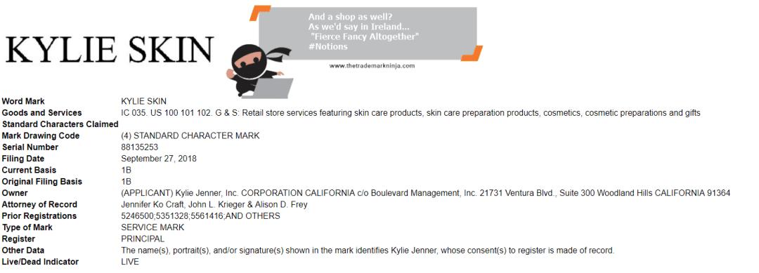 Kylie Skin Shop Trademark Application