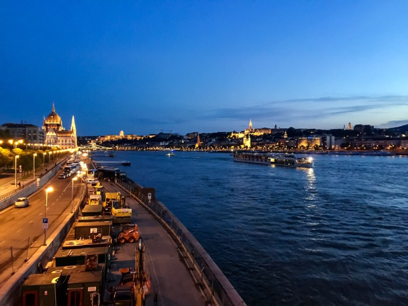 danube river at night budapest
