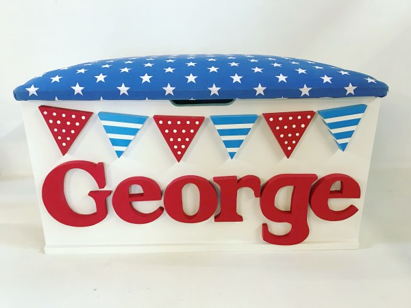blue and red star toy box with bunting and personalised name