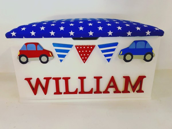 Car themed toy box that can be personalised with any name and colour scheme