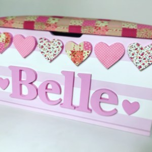 pink white stripe bunting toy box