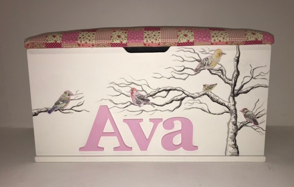 Hand-Painted Trees Toy Box