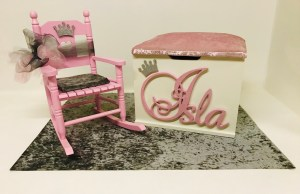 Crushed Velvet Toy Box & Rocking Chair