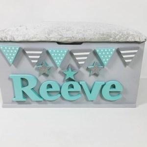 mint green and grey crushed velvet toy box