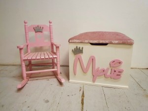 girl toy box and rocking chair