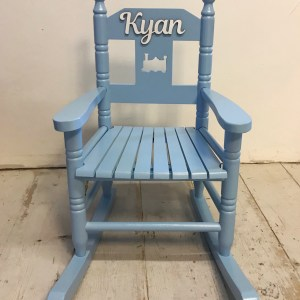 blue personalised wooden rocking chair
