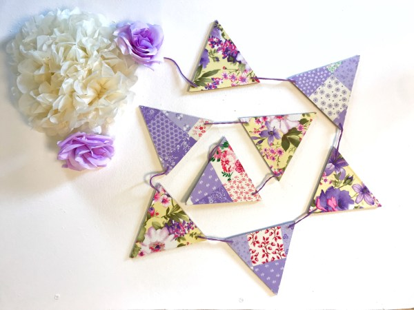purple patchwork bunting