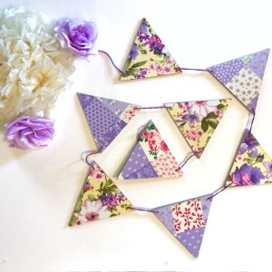 purple patchwork bunting
