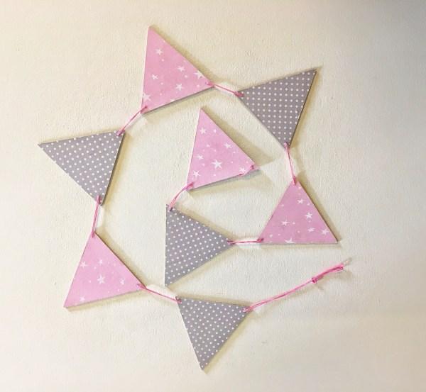 pink grey star bunting