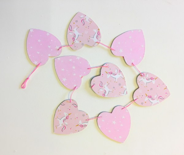 pink unicorn heart bunting