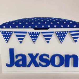 navy bunting star toy box