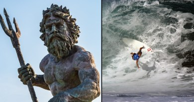 Beginner surfer wiped out by almighty Neptune
