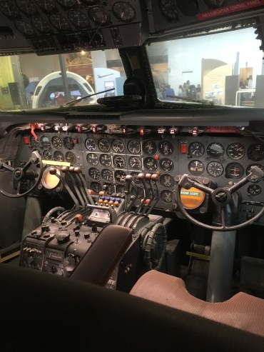A picture of the cockpit of a Boeing Aircraft