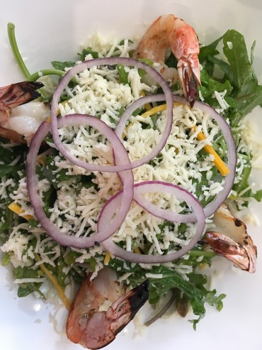 Berro y Calabaza Salad with Shrimp