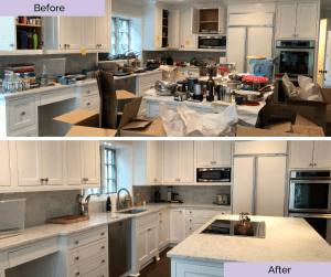 messy kitchen counter and clean kitchen counter before and after photos