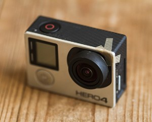 GoPro Camera with cracked case and tape repair