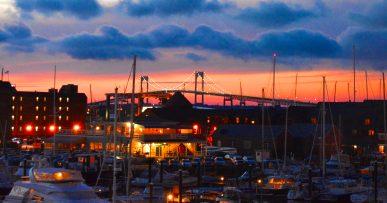 Newport Bridge sunset
