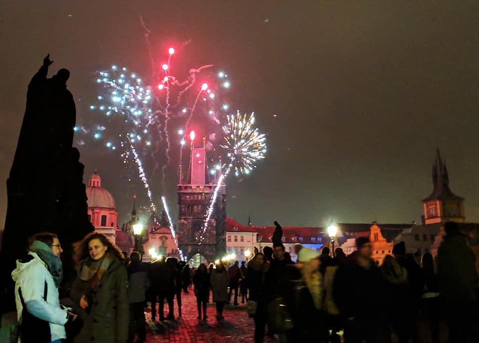 , New Year's Fireworks on Charles Bridge, Prague – 2019, The Travel Bug Bite