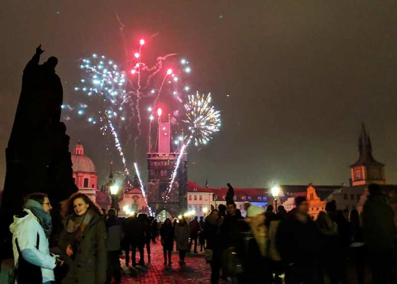 , New Year's Fireworks on Charles Bridge, Prague – 2019, The Travel Bug Bite, The Travel Bug Bite