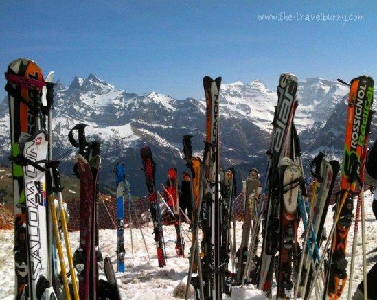 Skis stacked in Avoriaz