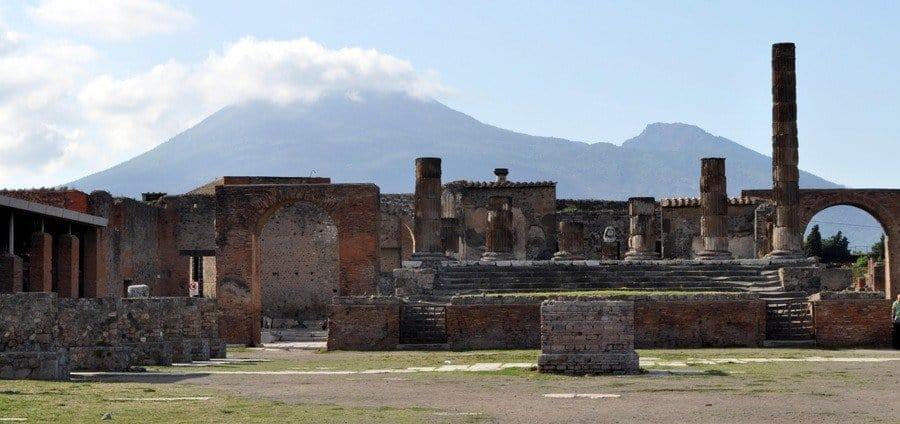 Temple of Jupiter at Pompeii with Vesuvius in the background