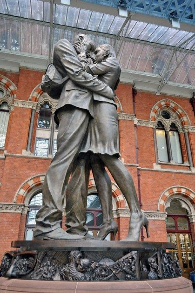 Meeting Place Statue St Pancras Station, London