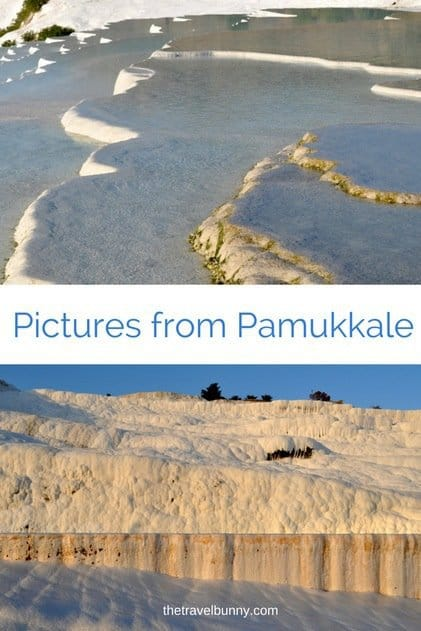 Pictures from Pamukkale. Turkey's chalky white travertines are pools and terraces filled with naturally warm spring water. Nature's own spa!