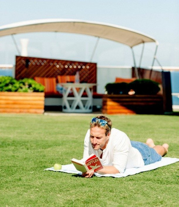 Ben Fogle relaxes on Celebrity Silhouette's' real grass lawn