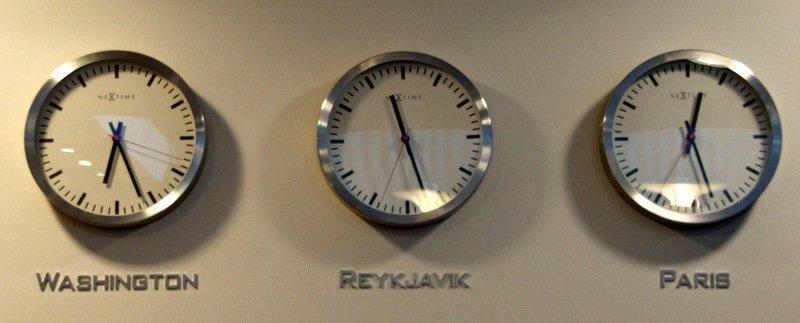 Washington Reykjavik Paris Clocks