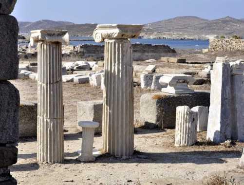 Pillars on Delos, Greece