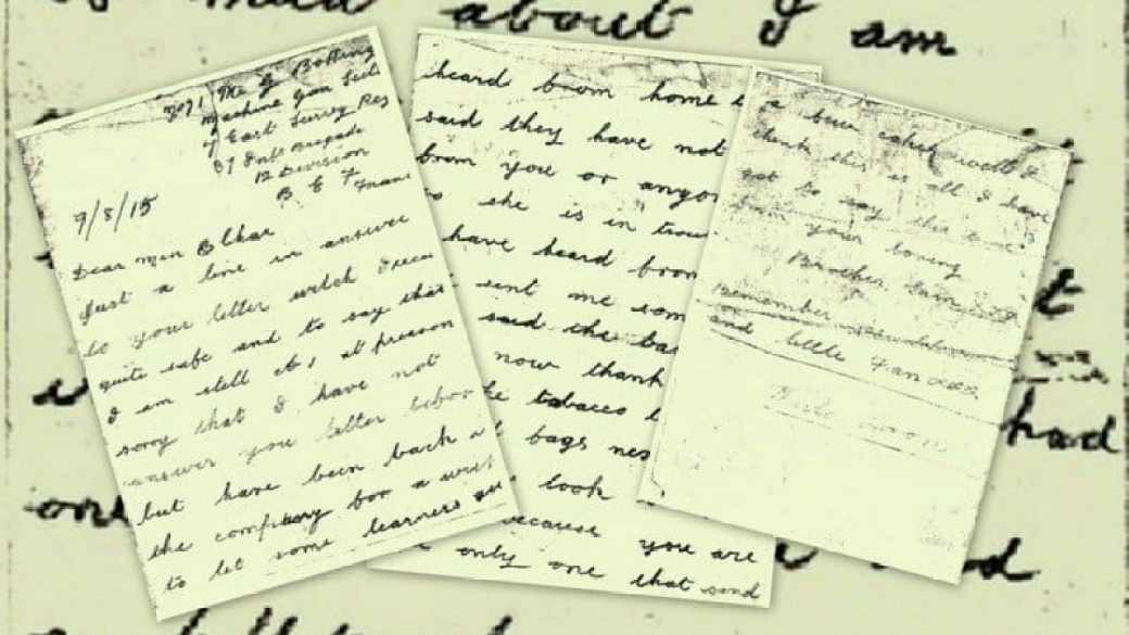 Letter home from WW1