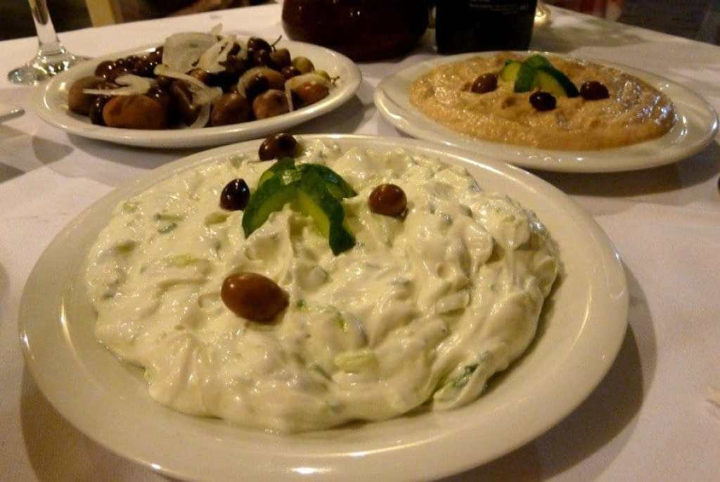 Tzatziki, Taramasalata and olives