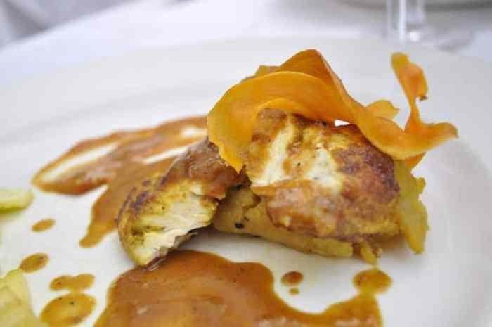 Poussin Breast flavoured with Cumin, Masala Potatoes, Marrow, Cinnamon & Nutmeg
