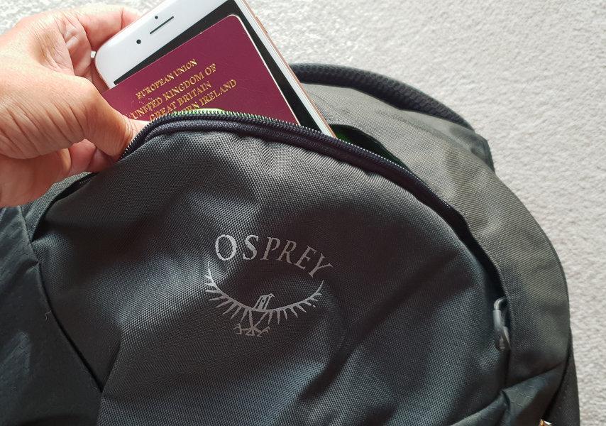 Passport in backpack pocket