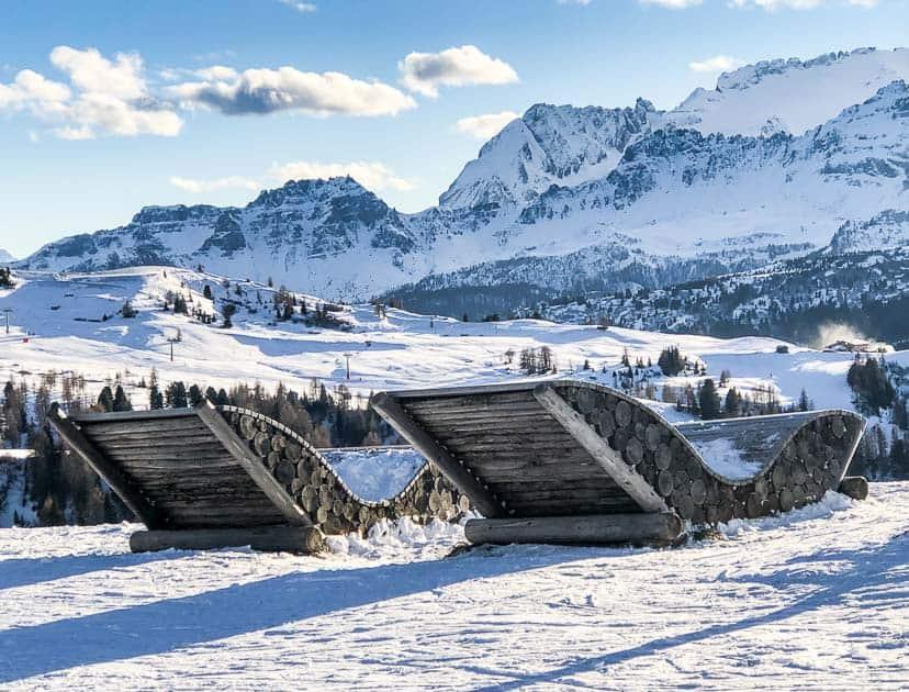 Alta Badia giant seats with mountain views